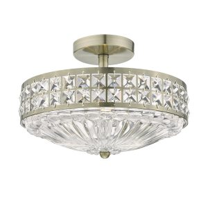 Olona 3L Light Semi Flush Antique Brass Crystal Beads and Glass Diffuser