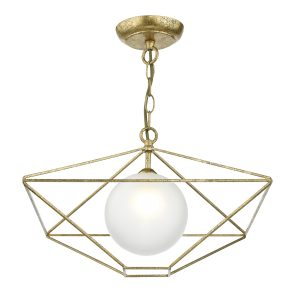 Orsini 1 Light Pendant Antique Gold Opal Glass Shade