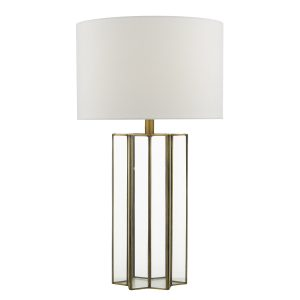 Osuna Table Lamp Natural Metal Glass C/W Shade