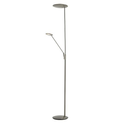 OUNDLE LED FLOOR LAMP WITH READING LIGHT SAT NICKEL
