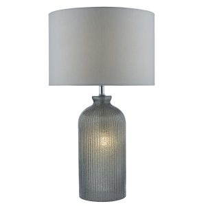 Pamplona Table Lamp Grey C/W Grey Faux Silk Shade