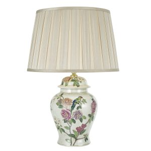 Peony Porcelain Table Lamp Base Hand Finished Floral Motif
