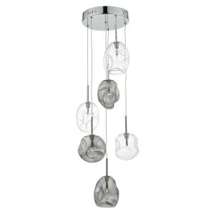 Quinn 6 Light Cluster Pendant Smoked/ Clear