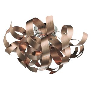Rawley 4 Light Ribbon Flush Brushed Copper