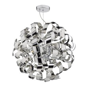 Rawley 9 Light G9 Pendant Polished Chrome Ribbons
