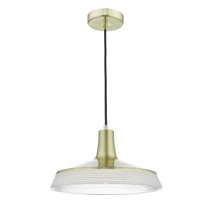 Ryder 1lt Pendant Gold & Textured Glass