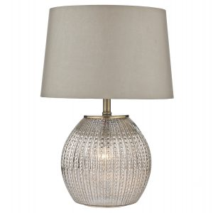 Sonia Table Lamp Antique Silver C/W Shade Dual Source