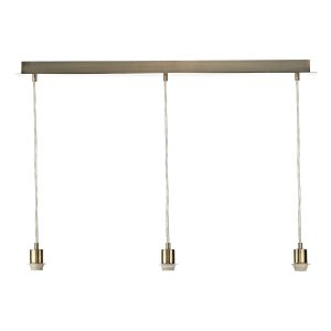 3 Light Antique Brass E27 Suspension With Clear Cable