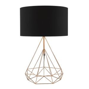 Sword Table Lamp Copper c/w  Black Cotton Shade