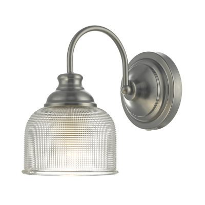 Tack Wall Light Antique Chrome & Textured Glass