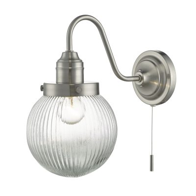 Tamara Wall Light Satin Nickel & Ribbed Glass