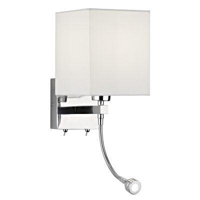 Tatton E27 & 1W LED Wall Lamp C/W White Shade