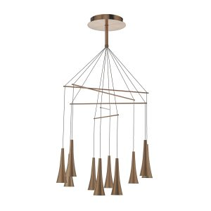 Trombone 10lt Pendant LED Brushed Copper