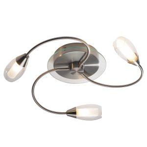 Tugel 3 Light Flush G9 (Satin Chrome C/W Double Envelope Glass