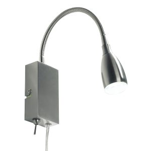 Uno LED Flexi Reading Lt Satin Chrome Plug In