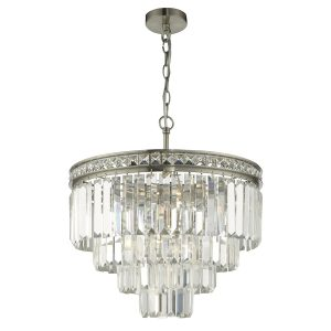 Vyana 4 Light  4 Tier Pendant Brushed Nickel and Crystal Droppers