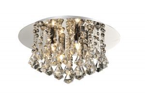NLCB - Clara 4 Light Crystal Flush, Chrome