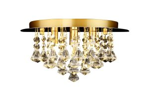 NLCB - Clara 4 Light Crystal Flush, Gold