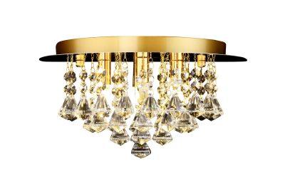 NLCB - Clara 4 Light Crystal Flush, Gold