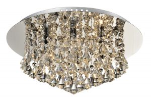 NLCB - Clara 6 Light Crystal Flush, Chrome