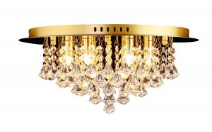 NLCB - Clara 6 Light Crystal Flush, Gold