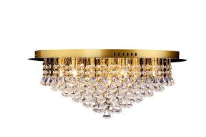 NLCB - Clara 9 Light Crystal Flush, Gold