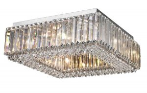 NLCB - Luxe 8 Light Square Crystal Flush
