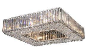 NLCB - Luxe 12 Light Square Crystal Flush