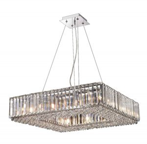 NLCB - Luxe 12 Light Square Crystal Pendant