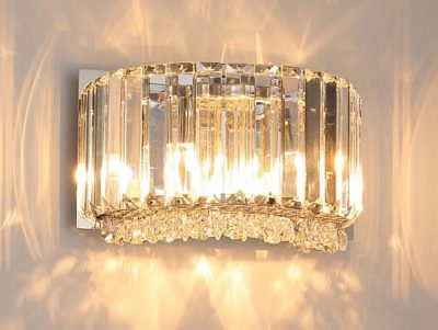NLCB - Luxe 2 Light Round Crystal Wall Light