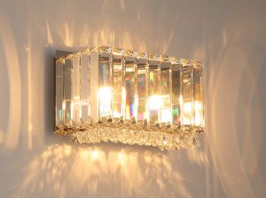 NLCB - Luxe 2 Light Square Crystal Wall Light