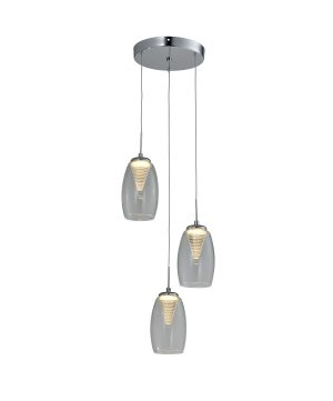 NLCB - Hera 3 Light LED Round Pendant, Clear