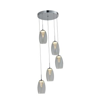 NLCB - Hera 5 Light LED Round Pendant, Clear