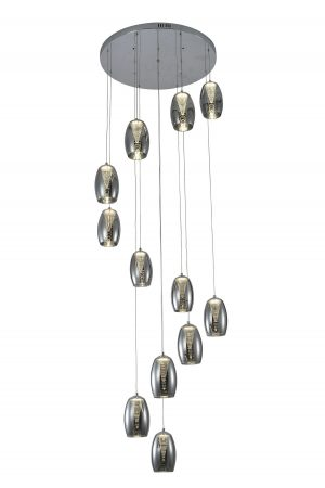NLCB - Hera 12 Light LED Round Pendant, Smoked