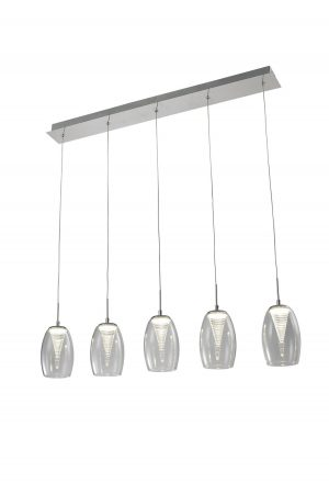 NLCB - Hera 5 Light LED Bar Pendant, Clear