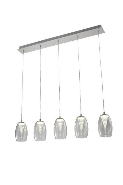 NLCB - Hera 5 Light LED Bar Pendant, Clear