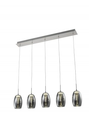 NLCB - Hera 5 Light LED Bar Pendant, Smoked