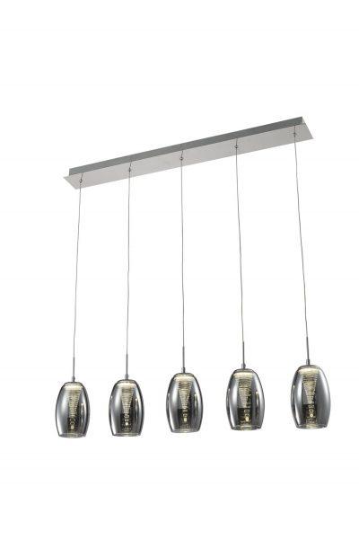 NLCB - Hera 5 Light LED Bar Pendant, Smoked