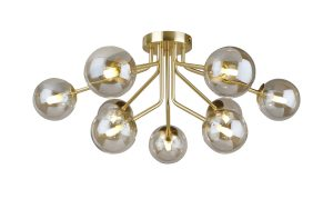 NLCB - Kugel 9 Light Semi Flush Cognac Glass
