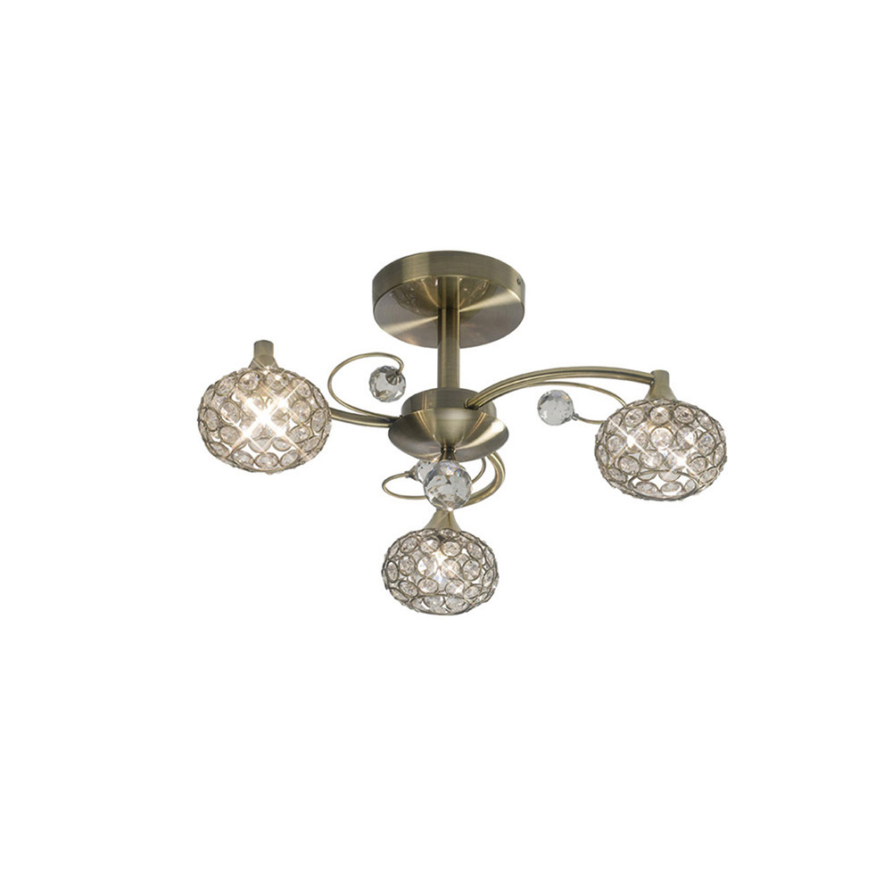 Cara Semi Ceiling 3 Light Antique Brass Crystal Nottingham Lighting Centre