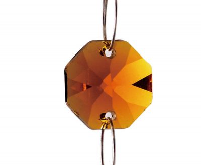 Diyas C50003 Crystal Octagon Without Ring Amber 14mm
