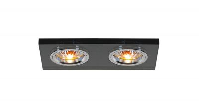 Diyas IL30807BL Crystal Dual Head Downlight Rectangle Rim Only Black, IL30800 Required To Complete The Item