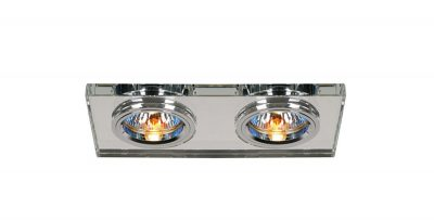 Diyas IL30807CH Crystal Dual Head Downlight Rectangle Rim Only Clear, IL30800 Required To Complete The Item