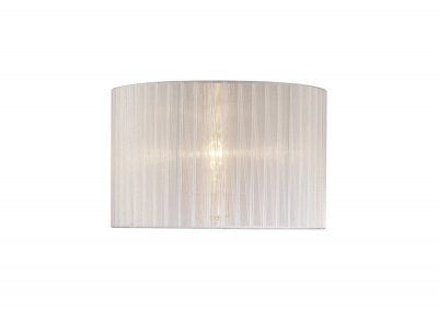 Diyas ILS31534 Florence Round Organza Shade White 360mm x 230mm, Suitable For Table Lamp