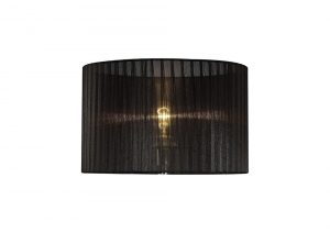 Diyas ILS31724 Florence Round Organza Shade Black 360mm x 230mm, Suitable For Table Lamp