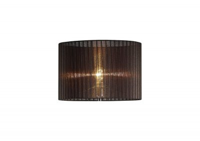 Diyas ILS31725 Florence Round Organza Shade Black 380mm x 260mm, Suitable For Floor Lamp
